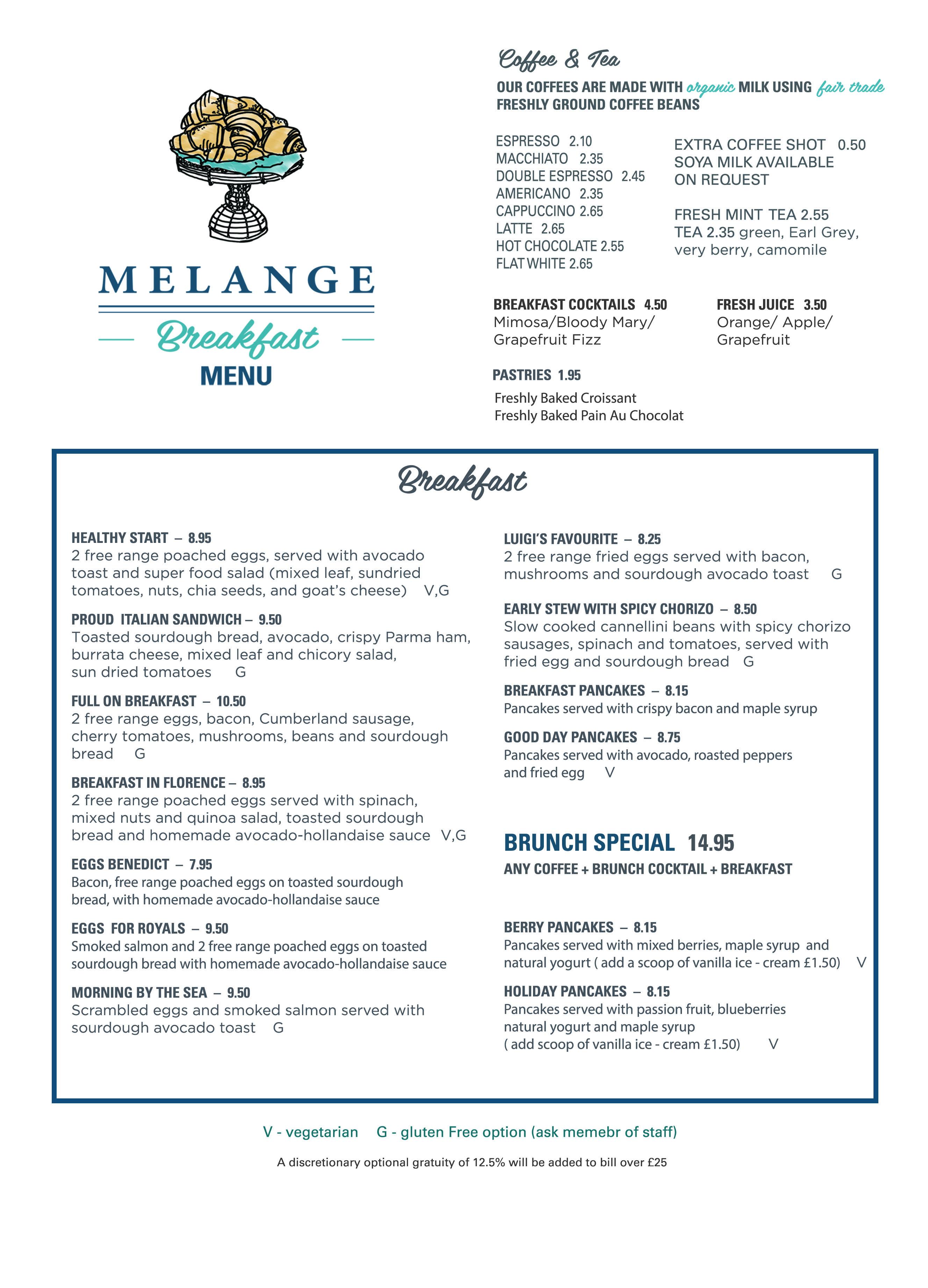 menu – melange